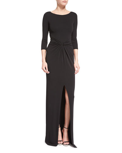 3/4-Sleeve Twist-Front Gown, Black