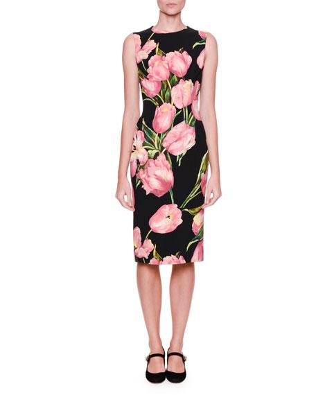 667461f7 Dolce & Gabbana Sleeveless Tulip-Print Dress, Black/Rose Pink