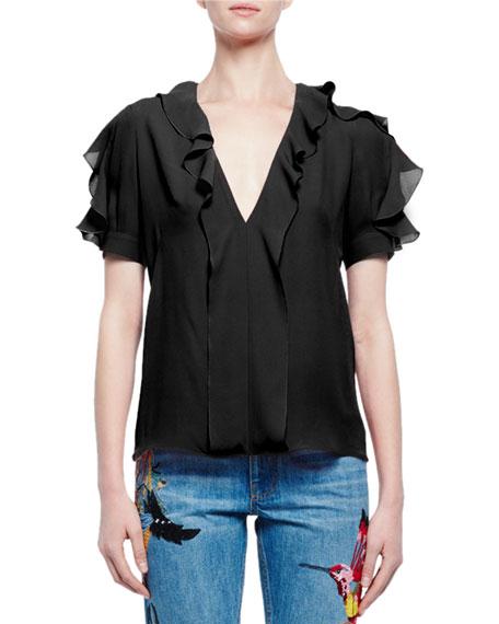 21cdb953 Alexander McQueen Short-Sleeve V-Neck Ruffle Blouse, Black