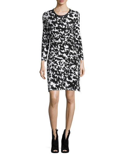 Long-Sleeve Two-Tone Sheath Dress, Natural White/Black