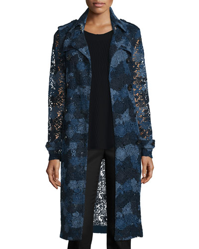 Double-Breasted Lace Trench Coat, Ink Blue