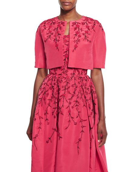 39da193595 Oscar de la Renta Floral-Embroidered Cropped Jacket, Raspberry/Black