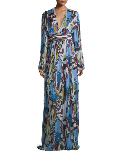 Long-Sleeve Printed Gown, Celeste/Muschio