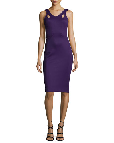 Sleeveless Body-Con Jersey Dress, Purple