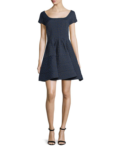 Cap-Sleeve Scoop-Neck Jacquard Cocktail Dress, Blue/Multi