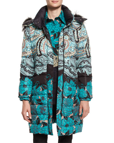Fox-Trim Hooded Floral Puffer Jacket, Teal