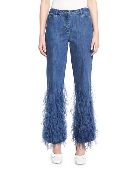 Image result for feathered jeans