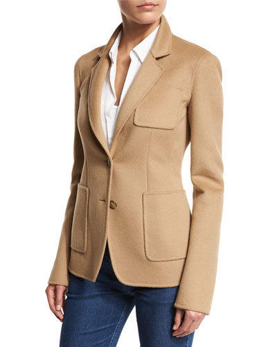 Double-Breasted 3/4-Sleeve Blazer, Fawn
