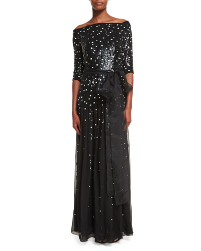 Off-the-Shoulder Dot-Sequined Chiffon Gown