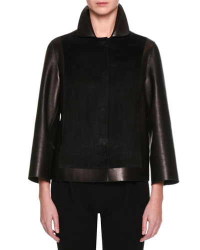 Suede & Leather Easy Jacket, Black