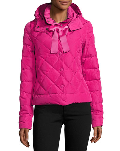 Hooded Bow Puffer Jacket, Purple