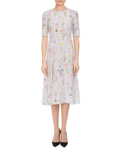 Sylvia Botanical Silk Elbow-Sleeve Dress, Lilac