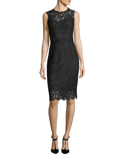Sleeveless Fitted Lace Sheath Dress