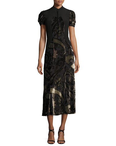 Paisley Dévoré Short-Sleeve Midi Dress, Black