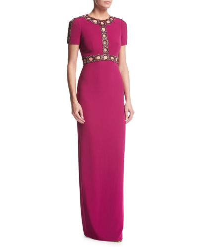 Short-Sleeve Beaded Cutout Gown, Bright Plum
