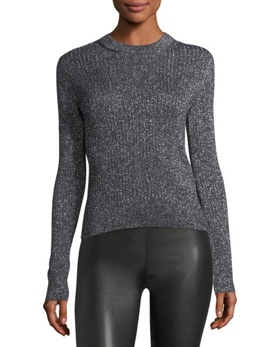 Lurex Ribbed Crewneck Sweater