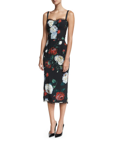 Rose-Print Bustier Cocktail Sheath Dress