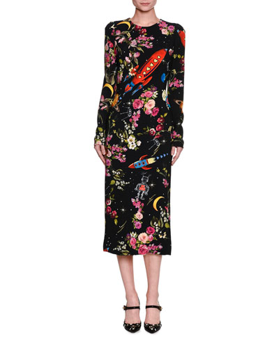 Rocket Ship Floral-Print Long-Sleeve Midi Dress, Black