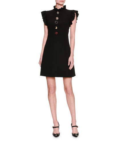 Jewel-Button Ruffle-Trim Minidress, Black