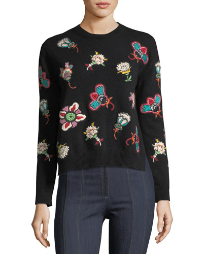 Embellished Lace-Yoke Virgin Wool Sweater