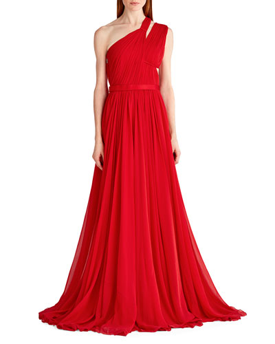 One-Shoulder Gathered Chiffon Gown