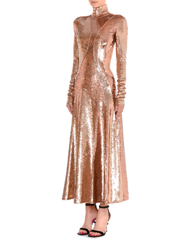 Sequined Asymmetric-Cutout Gown