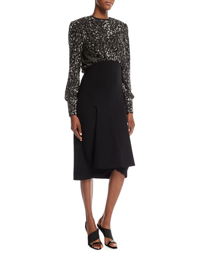 Sequined Leopard-Bodice Pebble Crepe Dress