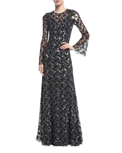 Long-Sleeve Paillette-Embellished Gown