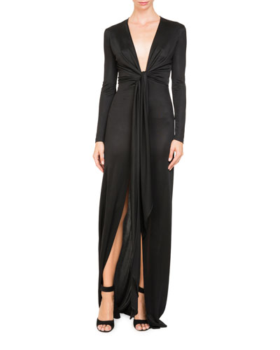 Plunging Tie-Waist Shiny Jersey Long Evening Gown