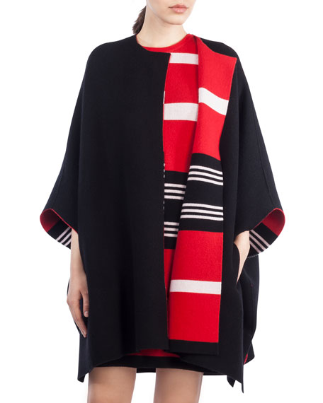 Reversible Knit Cashmere Cape