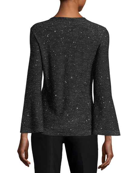 Bell-Sleeves Keyhole-Front Metallic Knit Sweater