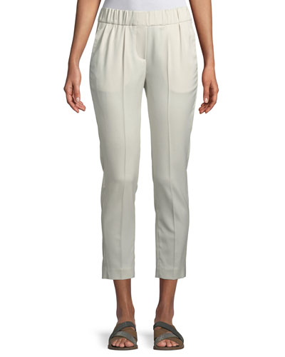 Wool Sateen Ankle Pull-On Pants
