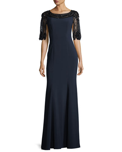 Scallop Beaded Stretch-Crepe Evening Gown
