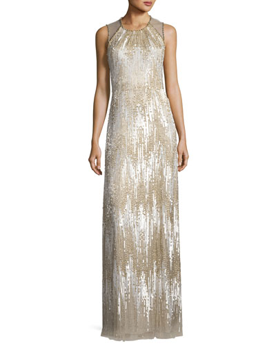 Sleeveless Chevron Sequined Gown