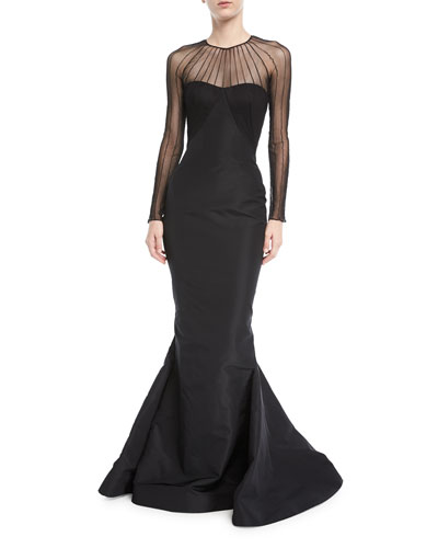 Tulle Illusion Long-Sleeve Silk Faille Trumpet Evening Gown