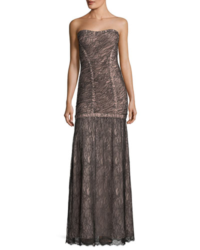 Strapless Lace Overlay Evening Gown