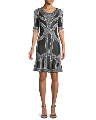 Round-Neck Elbow-Sleeve Fit-and-Flare Jacquard Cocktail Dress