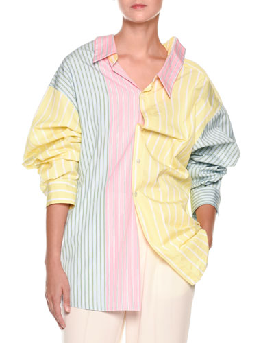 Long-Sleeve Pastel Panel Striped Oversized Cotton Blouse