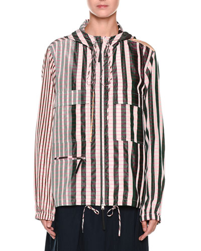 Striped Check-Print Zip-Front Hooded Taffeta Jacket