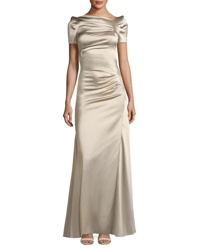 Short-Sleeve Slit-Front Satin Evening Gown