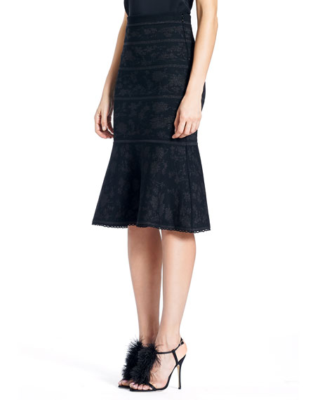 Knit Jacquard Fitted Skirt