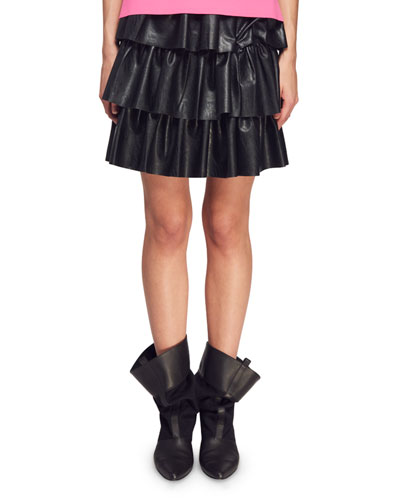 Tiered Faux-Napa Mini Skirt