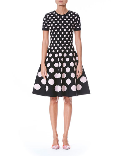 Polka-Dot Short-Sleeve Fit-and-Flare Knit Dress