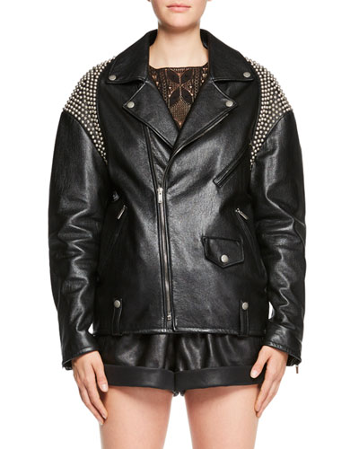 Zip-Front Oversized Moto Leather Jacket with Shoulder Studs