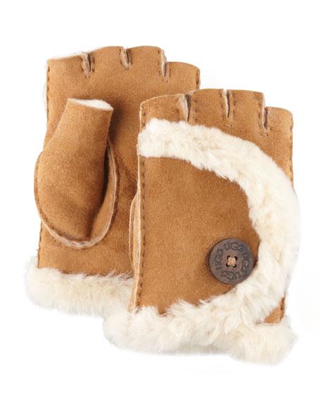 Mini Shearling Fingerless Gloves, Chestnut