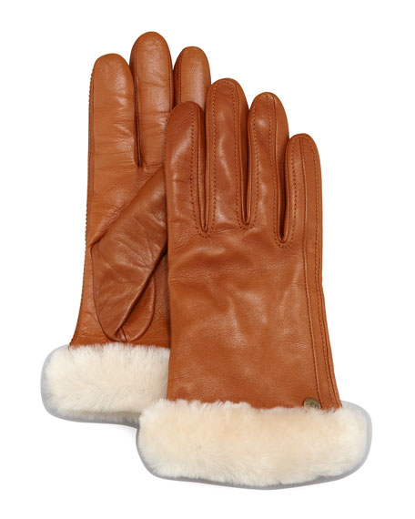 f19f76e1f3e Classic Fur-Trim Leather Smart Gloves Brown