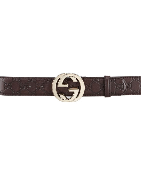 ffc363bfc68 Gucci Guccissima Leather Belt with Interlocking G Buckle