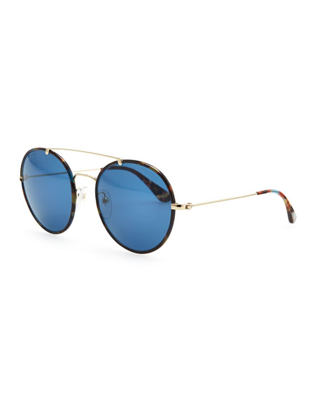 0b233a0fd5ee Prada Catwalk Round Aviator Sunglasses, Blue Havana