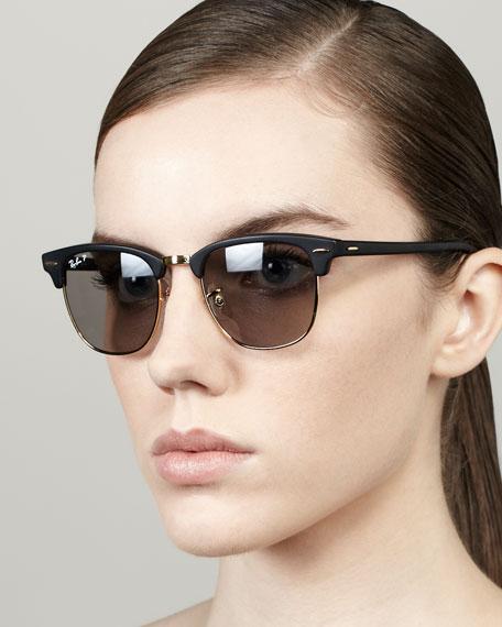 66b9f8270e3 Ray-Ban Polarized Matte Clubmaster Sunglasses