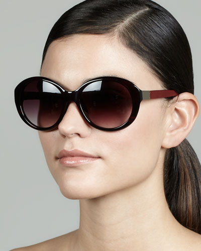 Oval Leather-Arm Sunglasses, Red